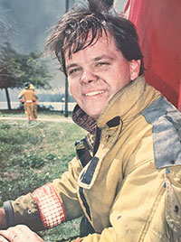 Submitted PhotosYoung and fearless: Chris Byrne after fighting a fire.