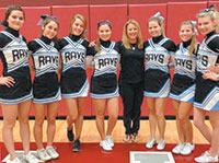 MIA Cheerleaders and Coach Galiana.