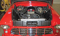 The 350 cubic inch, small block engine that powers an all-original, 1955 Chevrolet pickup.