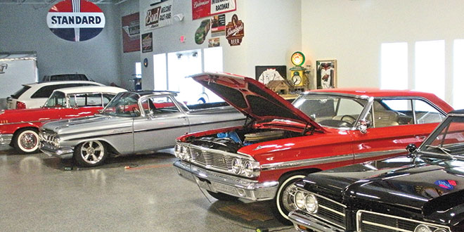 A 1964 Pontiac LeMans, right, is joined by a 1964 Ford Galaxy, a 1959 Chevrolet El Camino and a 1957 Chevrolet Bel Air.