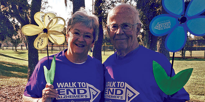 Submitted PhotoBarbara and Jack Markel in their purple Alzheimer's Association Walk T-shirts.