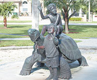 """""""Happy Travelers"""" bronze sculpture donated byCharlotte McCormick."""