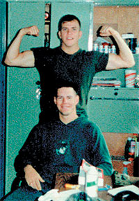 Bill Gwinn at USMC Barracks, St. Mawgan,England at about the time he met Cassandra Ferguson in 1987. Shown here with Jim Ball, a member of Bill's unit.