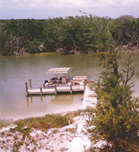 A solar-power lighted dock once ran from the house to the lagoon behind it.