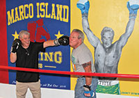 Rich Stoltenborg (right) and Jimmy Downey reenacting a fight. Photos By Val Simon