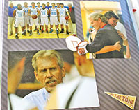 A page in a scrapbook made for Roger and Karen Raymond shows varying emotions he showed with his players.
