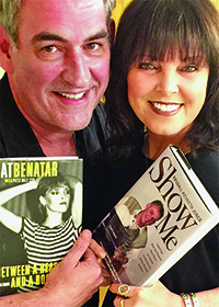 Photo by Erin Rew: Randall Kenneth Jones and Pat Benatar, holding each other's latest books.