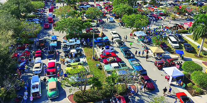 Photo by Mike Murphy   An aerial shot of the Kiwanis Car Show taken aboard the Marco Island Fire Department's truck.