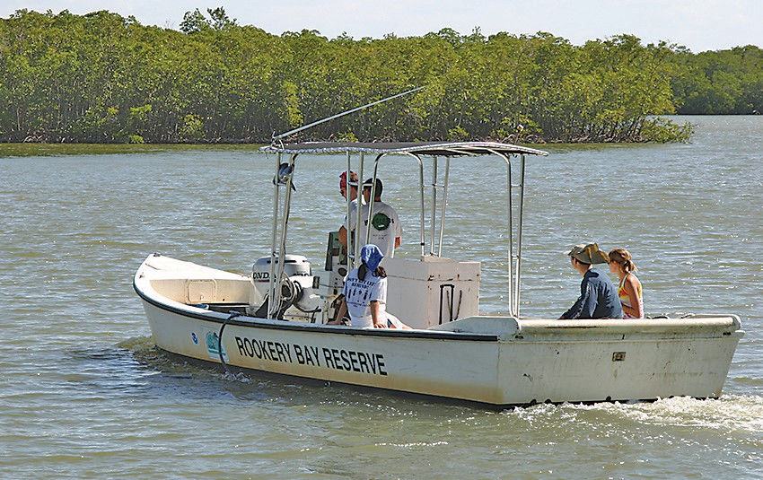 An RBR research boat on the way to another mission. Rigged as a mullet boat, this craft can navigate in shallow places.