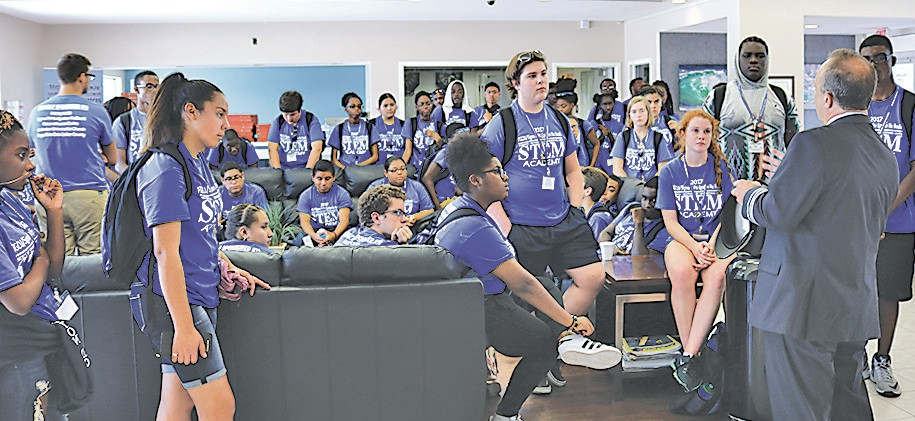 Students hear from a commercial pilot as to the 95,000 job openings in aviation that will occur within the next five years in the industry across the United States. Photo by Steve Stefanides